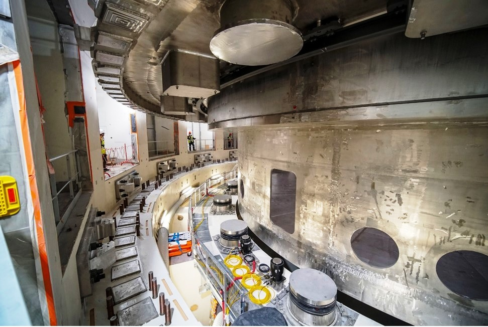 Cryostat Base Section positioned in the Tokamak Pit2.jpg