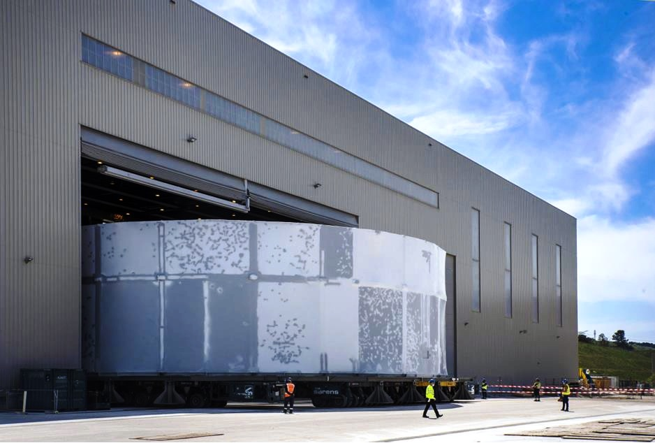 ITER Cryostat Lower Cylinder completed, wrapped and moved from Cryostat workshop to intermedia...jpg