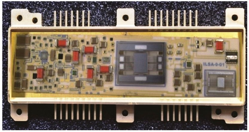 Photograph of 1″ × 4″ hybrid micro circuit with sensors and  front end electronics for ILSA.jpg