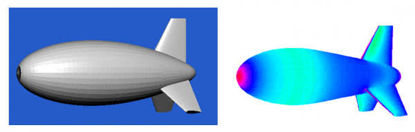 The figure shows the paneling and the pressure contour over an aerostat configuration..png