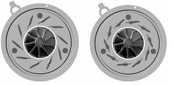 Variable geometry turbocharger open (a) and closed (b) nozzle blade positions..jpg