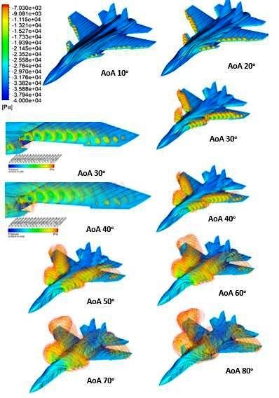 Visualization of the canard and of the main wing vortex core flows and the pressure istributio...jpg