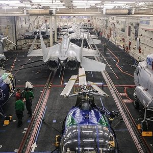 Hanger of Indian Navy Aircraft Carrier INS Vikramaditya