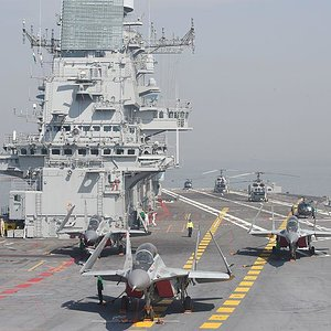 Deck of Indian Navy Aircraft Carrier INS Vikramaditya